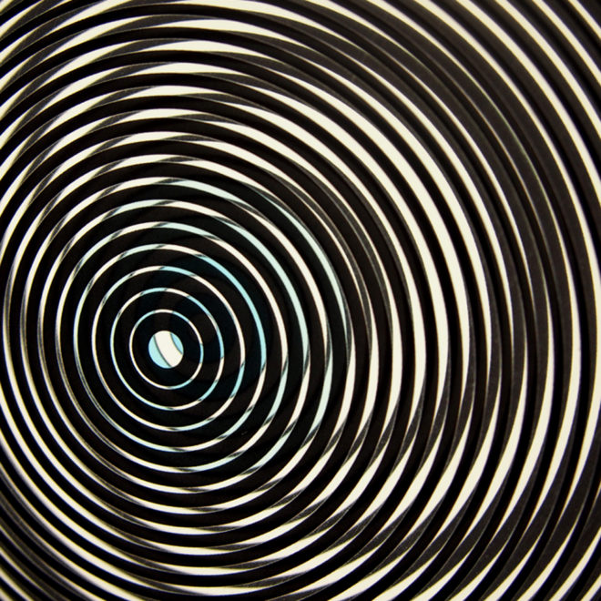 Music Record Blue Side.A – Graphic Line Art Optical Illusion - 11x9 Lightbox by Mini-Cinema (Detail1)