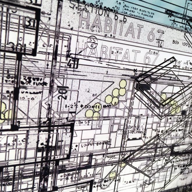 Habitat67 Masterplan #2 - Mid Century Architecture Sketches - 14x20 Lightbox