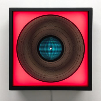 Blue Mirror Ball on Fuchsia - Spinning Lux Records Op Art – 12x12 Lightbox