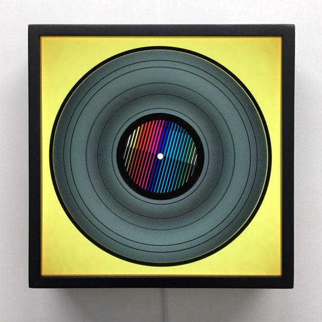 Prismacolor Interference on Yellow - Spinning Lux Records Op Art – 12x12 Lightbox