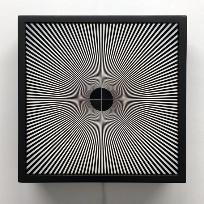 Star Focus Black and White - Psychedelic Abstract Pattern Optical Effect – 12x12 Lightbox