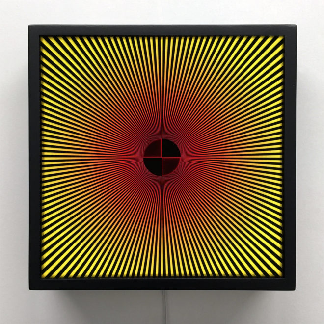 Star Focus Red and Yellow - Psychedelic Abstract Pattern Optical Effect – 12x12 Lightbox
