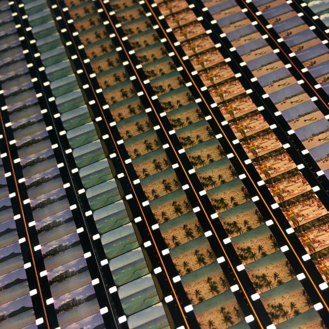 Hawaii Waikiki Beach Honolulu 1978 Vacation Home Movie – 16mm Film Collage – 14×14 Lightbox by Mini-Cinema