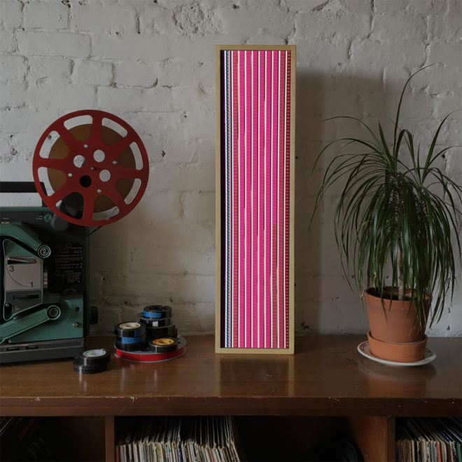 Pink Triangle - 16mm Film Collage - 28x7 Lightbox