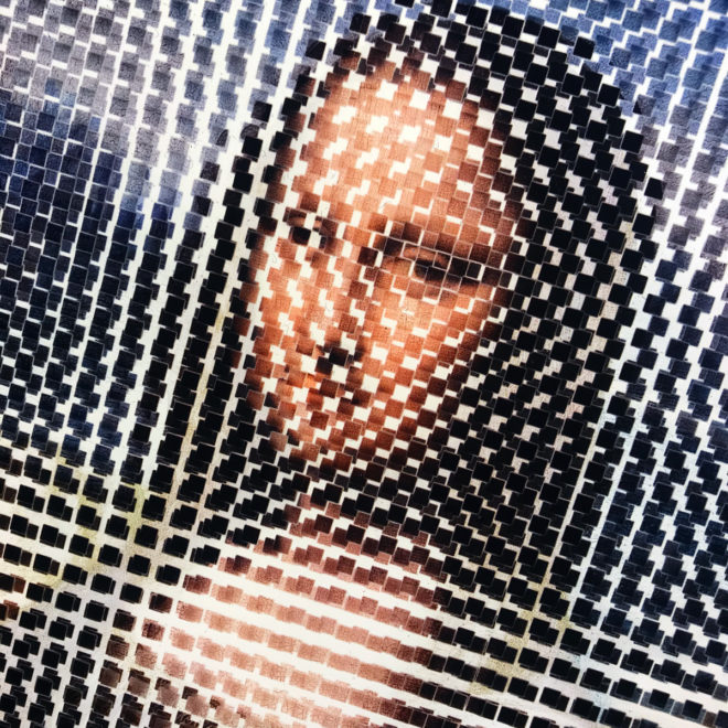 Pixelated Mona Lisa Vanishing Portrait - Da Vinci Homage - 18x12 Lightbox by Mini-Cinema