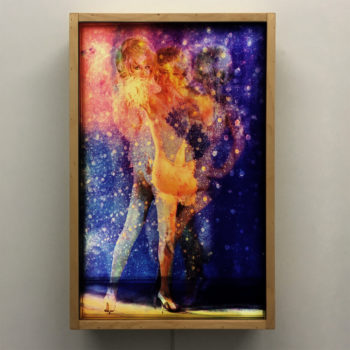 Vanishing Cheesecake Disco Queen - 1970s Postcards Mashup - 18x12 Lightbox by Mini-Cinema