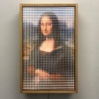 Pixelated Mona Lisa Vanishing Portrait - Da Vinci Homage - 18x12 Lightbox by Mini-Cinema