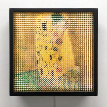 Pixelated Kiss - Klimt Homage - 12x12 Lightbox by Mini-Cinema