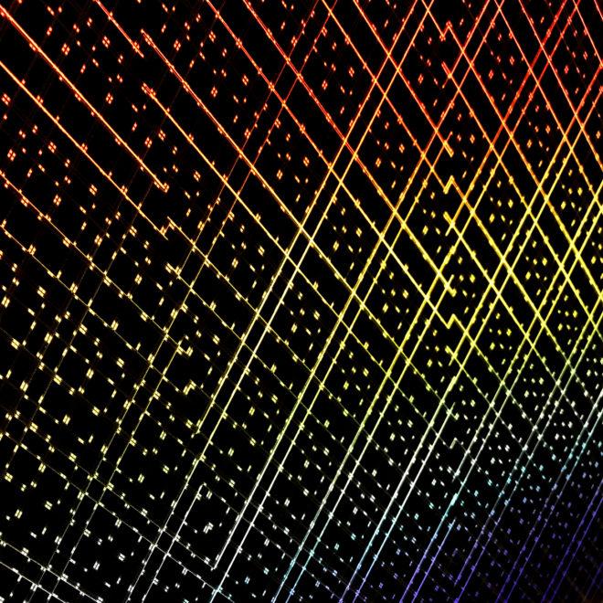 Rainbow Pattern Network #2 - Layered Prints Optical Effect - 12×12 Lightbox by Mini-Cinema / Hugo Cantin