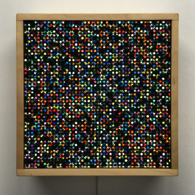 Lite Brite #4 Flower Garden - Colorful Dots Optical Effect - 12×12 Lightbox