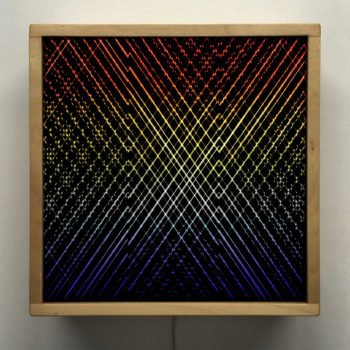 Rainbow Pattern Network #1 - Layered Prints Optical Effect - 12×12 Lightbox by Mini-Cinema / Hugo Cantin