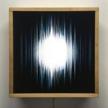 Blue Hatch - Layered Prints Optical Effect - 12×12 Lightbox by Mini-Cinema