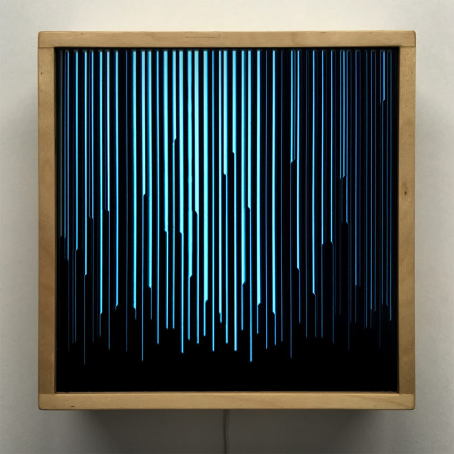 Blue Peak Level - Layered Prints Optical Effect - 12×12 Lightbox by Mini-Cinema / Hugo Cantin