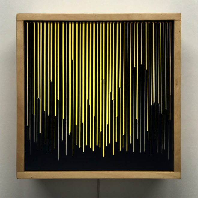 Yellow Peak Level - Layered Prints Optical Effect - 12×12 Lightbox by Mini-Cinema / Hugo Cantin