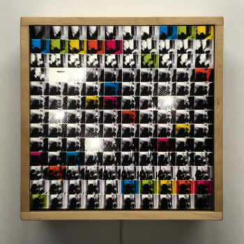Warhol Shooting Polaroids – Psychedelic Film Mashup - 12×12 Lightbox by Mini-Cinema