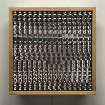 Andy Warhol Portrait – Double Print Optical Illusion - 12×12 Lightbox by Mini-Cinema