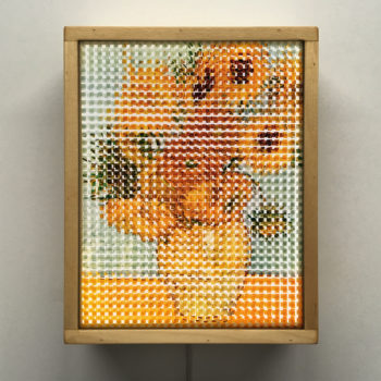 Pixelated Sunflowers - Van Gogh Homage - 11x9 Lightbox by Mini-Cinema