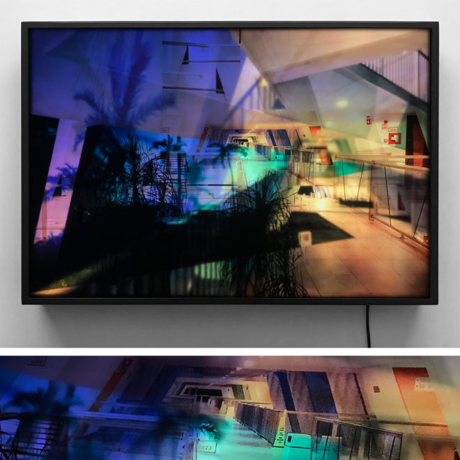 Mexican Resort Superimposed Architecture - Multiple Print Depth Effect - Lofty 20×30 Lightbox by Mini-Cinema / Hugo Cantin