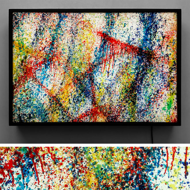 Rags-a-GoGo NYC Action Painting - Multiple Print Depth Effect - Lofty 20×30 Lightbox by Mini-Cinema / Hugo Cantin