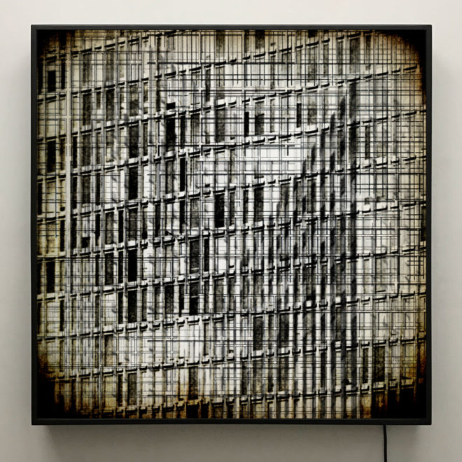 Structural Forms - Multiple Prints Depth Effect - Lofty Large-scale 36×36 Lightbox by Mini-Cinema / Hugo Cantin