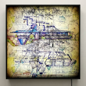 FLW Masterplan - Multiple Print Depth Effect - Lofty Large-scale 36×36 Lightbox by Mini-Cinema / Hugo Cantin