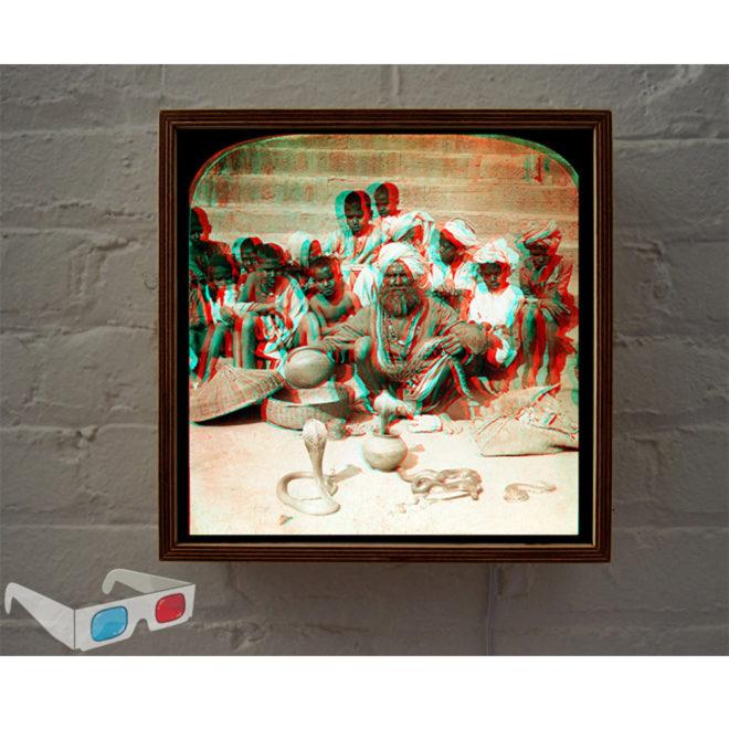 Indian Snake Charmer - 3D Anaglyph Print Optical Illusion Fun - 12x12 Lightbox