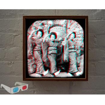 Three Dancing Geishas - 3D Anaglyph Print Optical Illusion Fun - 12x12 Lightbox