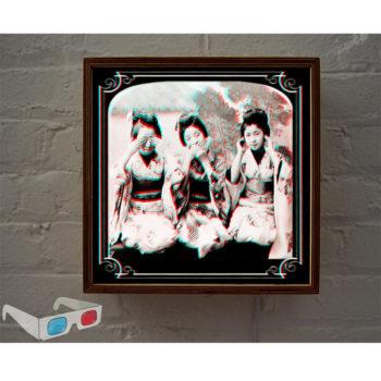 Three Wise Geishas - 3D Anaglyph Print Optical Illusion Fun - 12x12 Lightbox