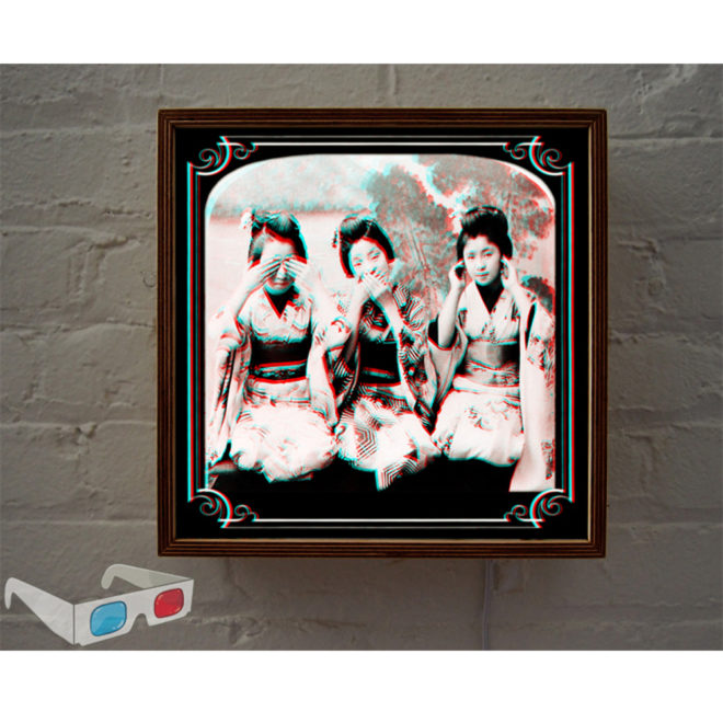 Three Wise Geishas - 3D Anaglyph Print Optical Illusion Fun - 12x12 Lightbox
