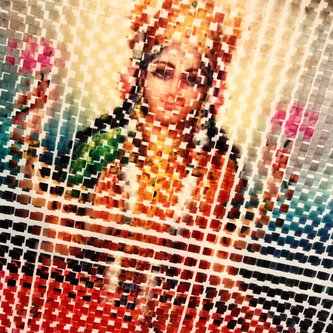 Pixelated Lakshmi On Lotus - Hindu Goddess Superstar - 12x12 Lightbox by Mini-Cinema / Hugo Cantin