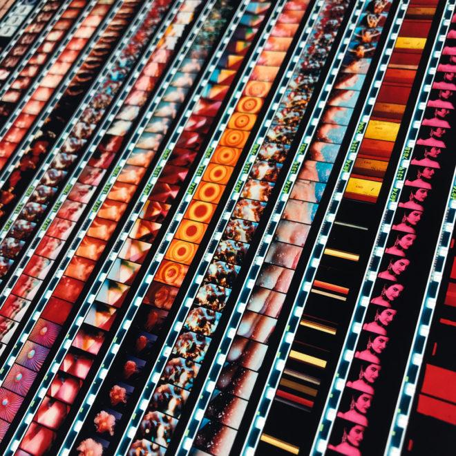 Mini-Cinema Cut-Up Mix - 16mm Film Collage - 18x18 Lightbox by Mini-Cinema / Hugo Cantin
