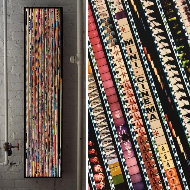 Mini-Cinema Cut-Up Mix - 16mm Film Collage - Lofty 58x14 Lightbox by Mini-Cinema / Hugo Cantin
