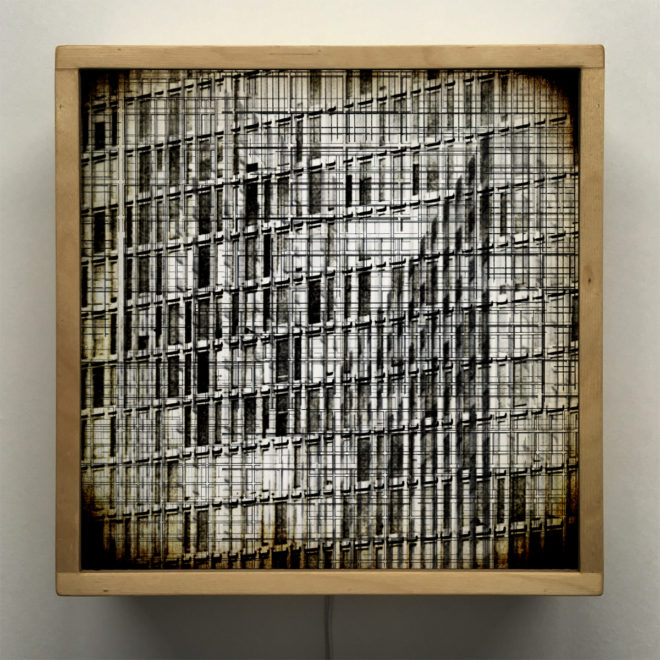 Structural Forms 1 - Multiple Prints Depth Effect - Lofty Large-scale 12x12 Lightbox by Mini-Cinema - Hugo Cantin