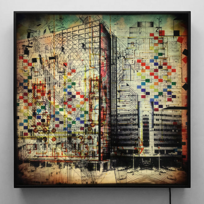 The Architect Masterplan - Multiple Print Depth Effect - Lofty Large-scale 36×36 Lightbox - Mini-Cinema - Hugo Cantin
