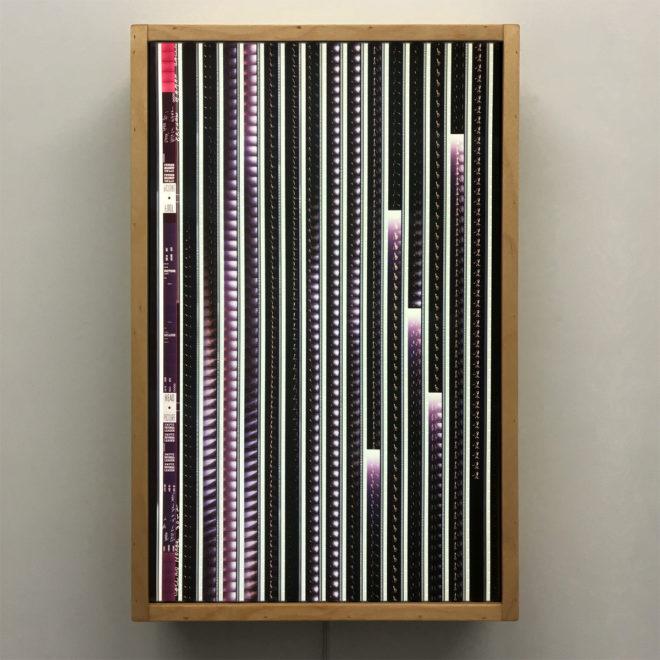 Johnny Romero Crooner Live Performance - 16mm Film Collage - 18x12 Lightbox by Mini-Cinema / Hugo Cantin -Front-ply