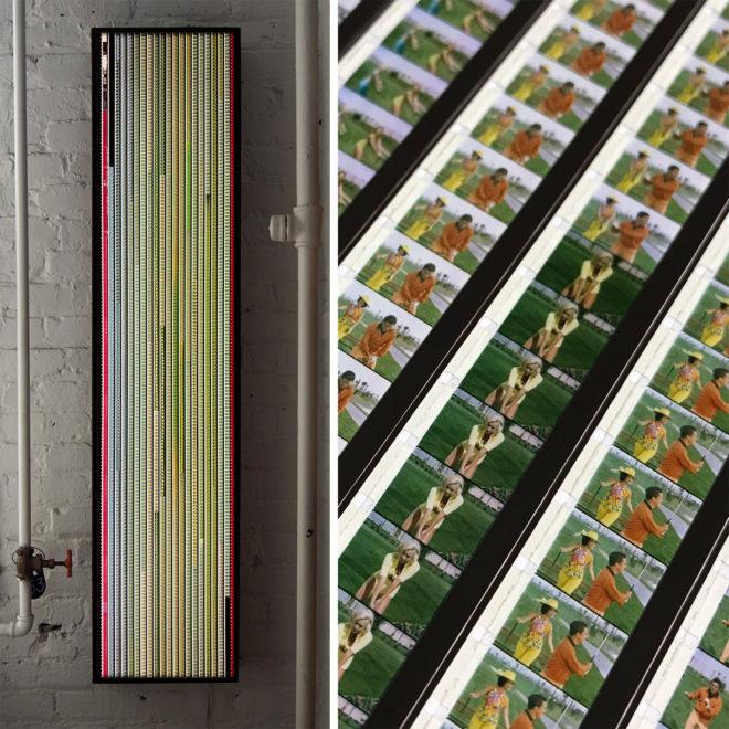 Tweedle-Dee Scopitone Jukebox Campy Golf Lesson - 16mm Film Collage - Lofty 58x14 Lightbox by Mini-Cinema / Hugo Cantin -MIX