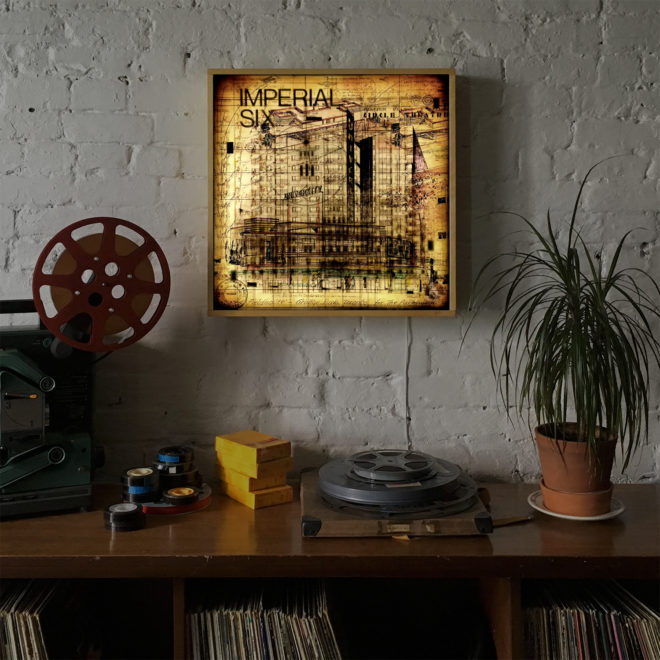 Toronto Architecture Department - Mid Century Sketches and Drawings - 24x24 Lightbox by Mini-Cinema -insitu
