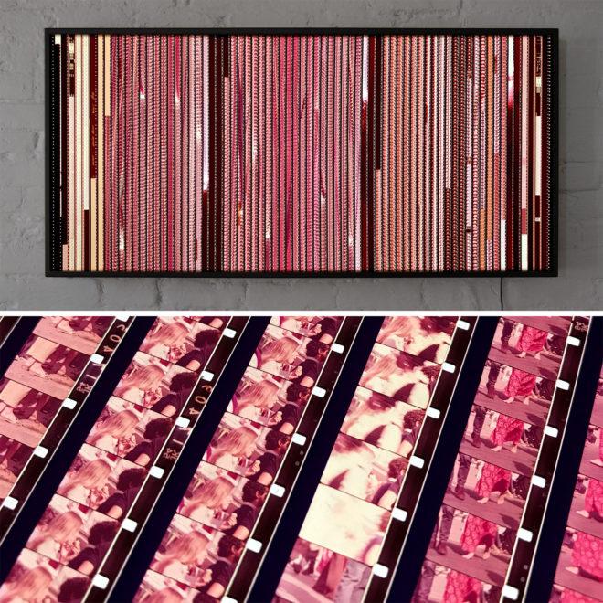 Yorkville Mystery Reel 1971 Street Scenes & Inuit Art Gallery - Rare 16mm Film Collage - Lofty 22x46 Lightbox by Mini-Cinema
