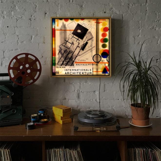 Bauhaus Architecture & Color Theory Mashup - 24x24 Lightbox by Mini-Cinema -insitu